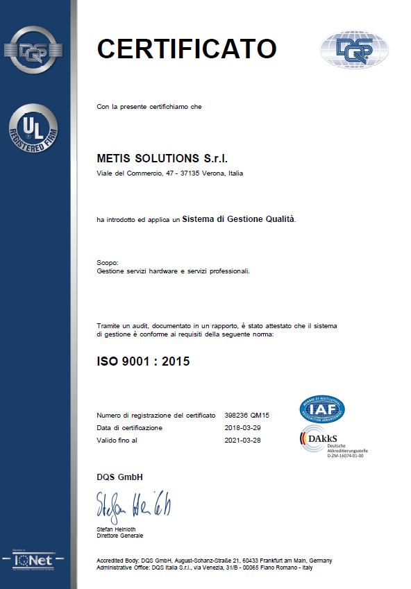 Acquisita la nuova certificazione ISO 9001:2015